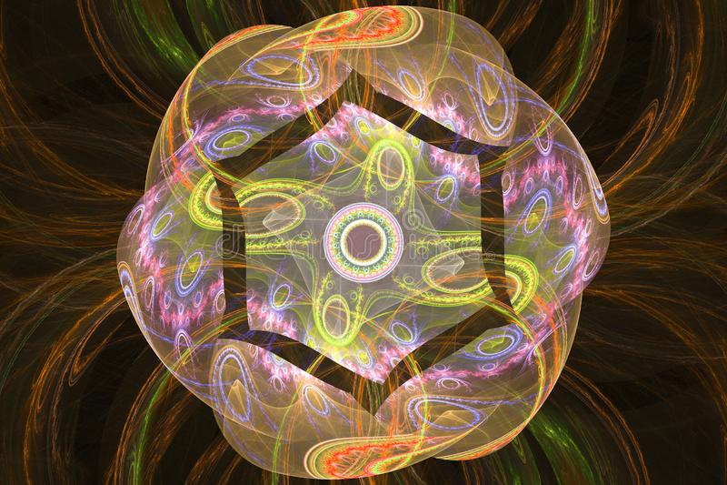 Muziek magische hypnose het dromen abstracte fractal van het droom hypnotic behang achtergrond stock illustratie