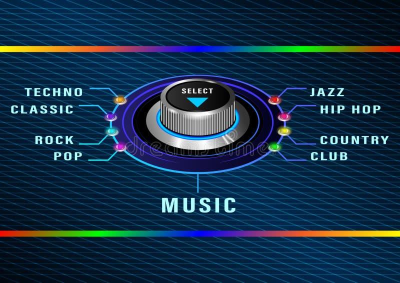 Muziek meest selest ronde controle royalty-vrije illustratie