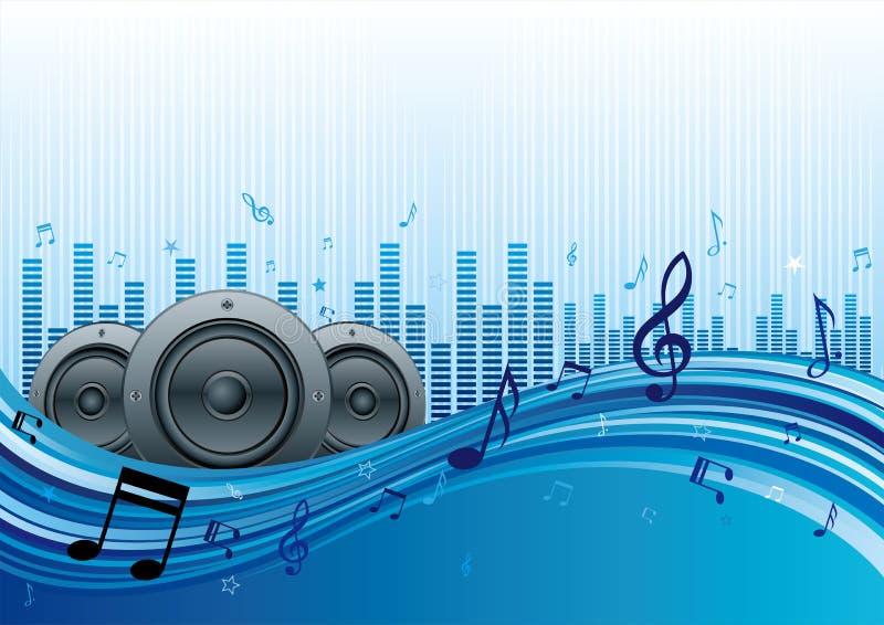 muziek met blauwe golf stock illustratie