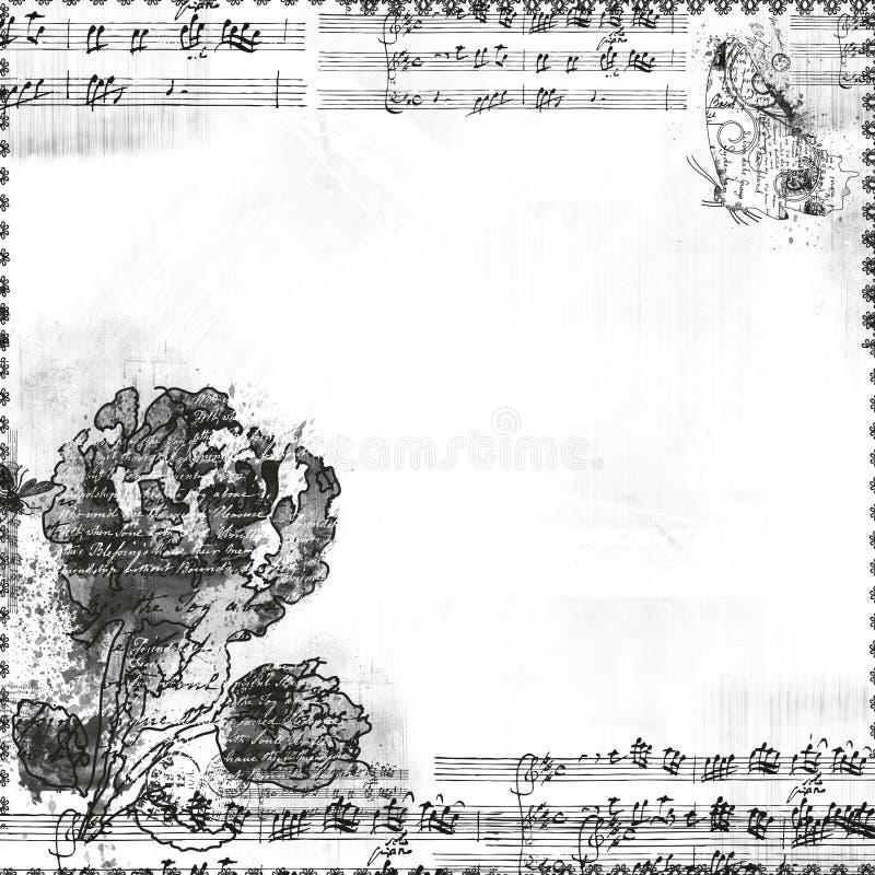 Muziek met bloemen en vlinderframe of bekleding vector illustratie