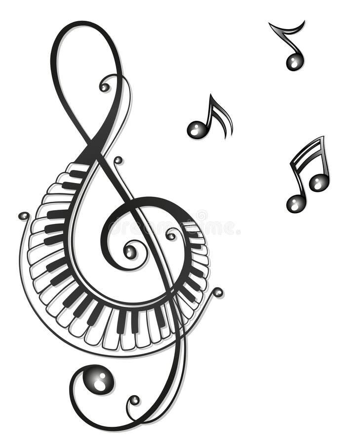 Muziek, muzieknota's, sleutel royalty-vrije illustratie