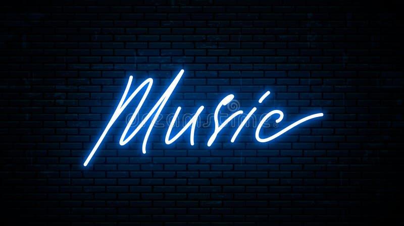 Muziek, neoninschrijving tegen de muur wordt geïsoleerd die stock illustratie