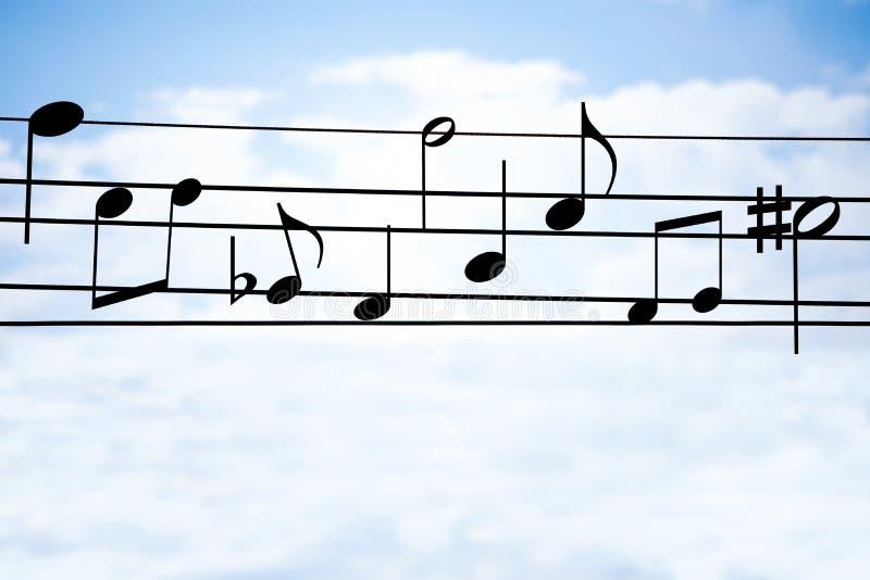 Muziek op draad royalty-vrije stock afbeelding