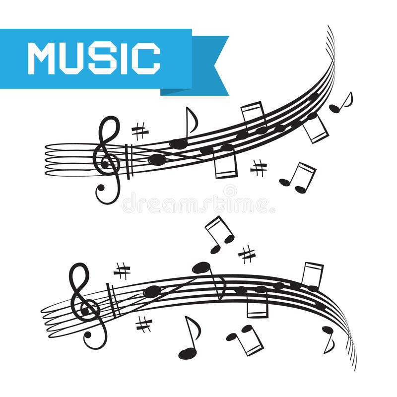 Muziek - Personeel en Nota's vector illustratie