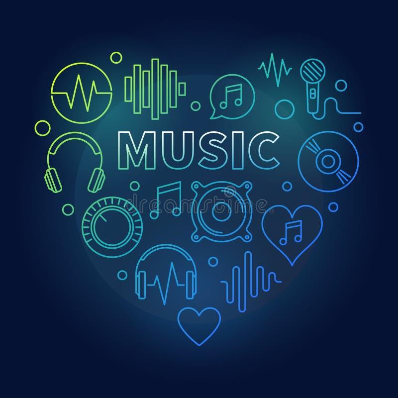 Muziek vectorhart gekleurde illustratie in dunne lijnstijl royalty-vrije illustratie