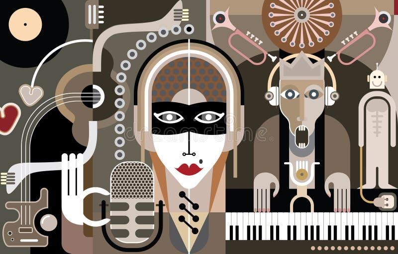Muziek - vectorillustratie stock illustratie