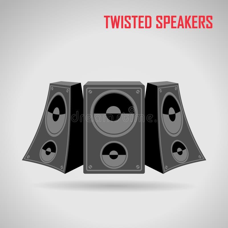 Muziek verdraaide sprekers op grijze vector vector illustratie