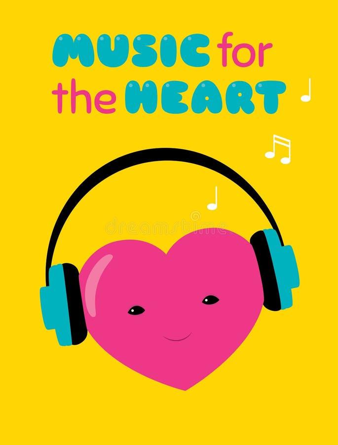 Muziek voor de hartsticker royalty-vrije illustratie