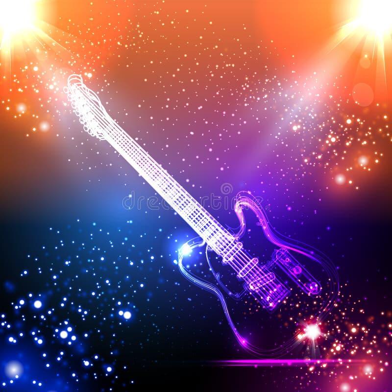 Muziekachtergrond, lichte gitaar royalty-vrije illustratie