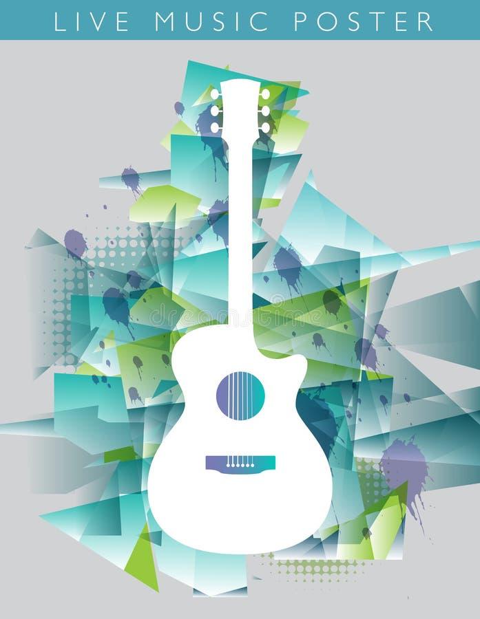 Muziekachtergrond met een akoestische gitaar royalty-vrije illustratie