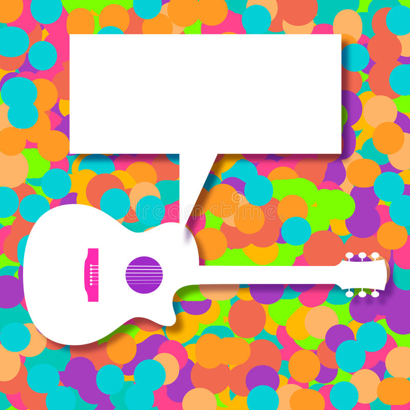 Muziekachtergrond met een generische akoestische gitaar royalty-vrije illustratie