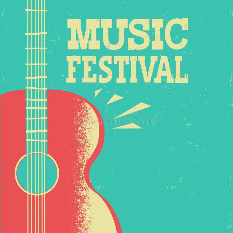 Muziekaffiche met akoestische gitaar op oude retro achtergrond met t stock illustratie
