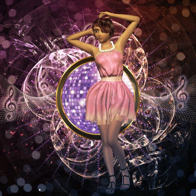 Muziekaffiche met meisje in roze royalty-vrije illustratie