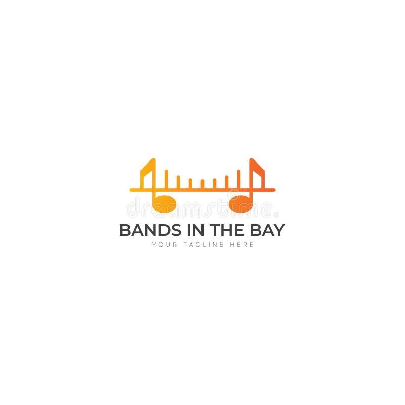 Muziekbanden in de Baai Logo Design stock illustratie