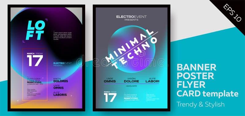 Muziekdekking voor de Zomer Elektronische de Partijvlieger van Fest of van de Club vector illustratie