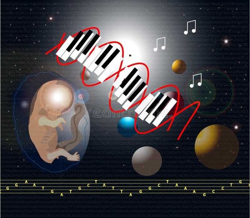 Muziekdna stock illustratie