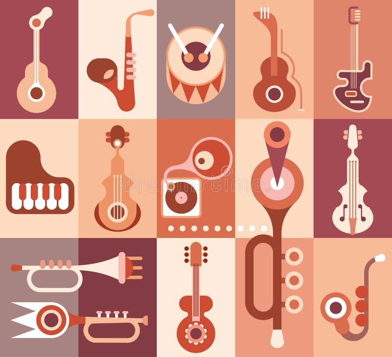 Muziekinstrumenten stock illustratie