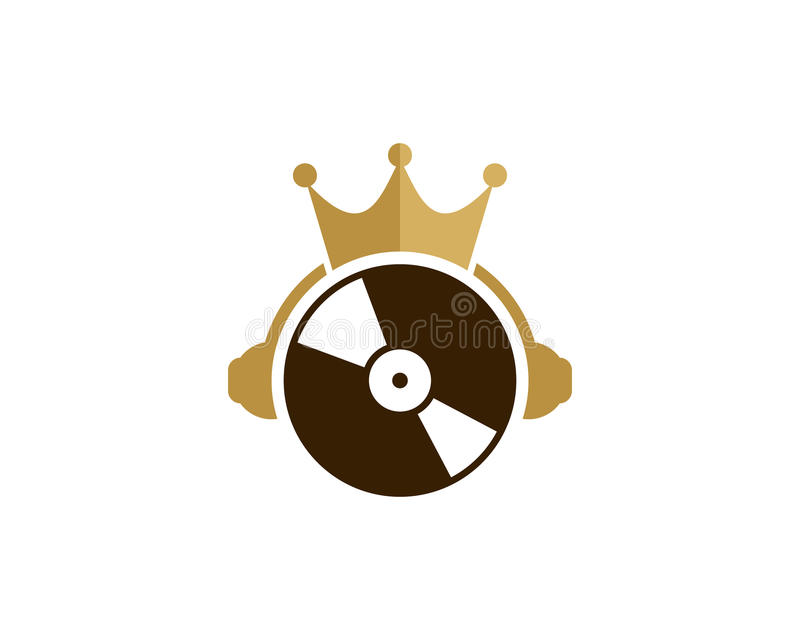 Muziekkoning Icon Logo Design Element royalty-vrije illustratie