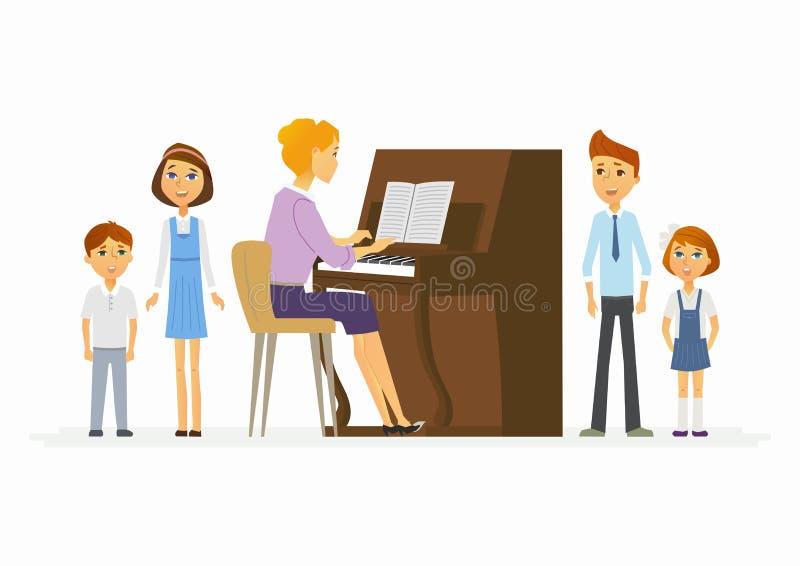 Muziekles op school - moderne de karaktersillustratie van beeldverhaalmensen royalty-vrije illustratie