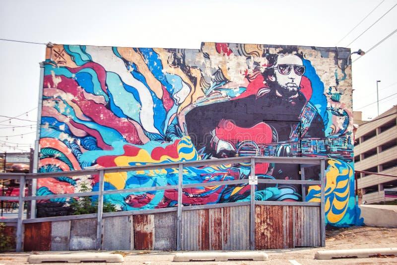 Muziekmuurschildering Tulsa Oklahoma royalty-vrije stock foto's