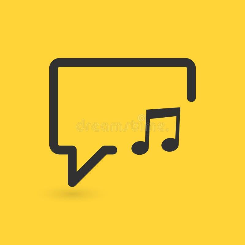 Muzieknoot in de lijnpictogram van de toespraakbel Muziekteken Vector illustratie stock illustratie