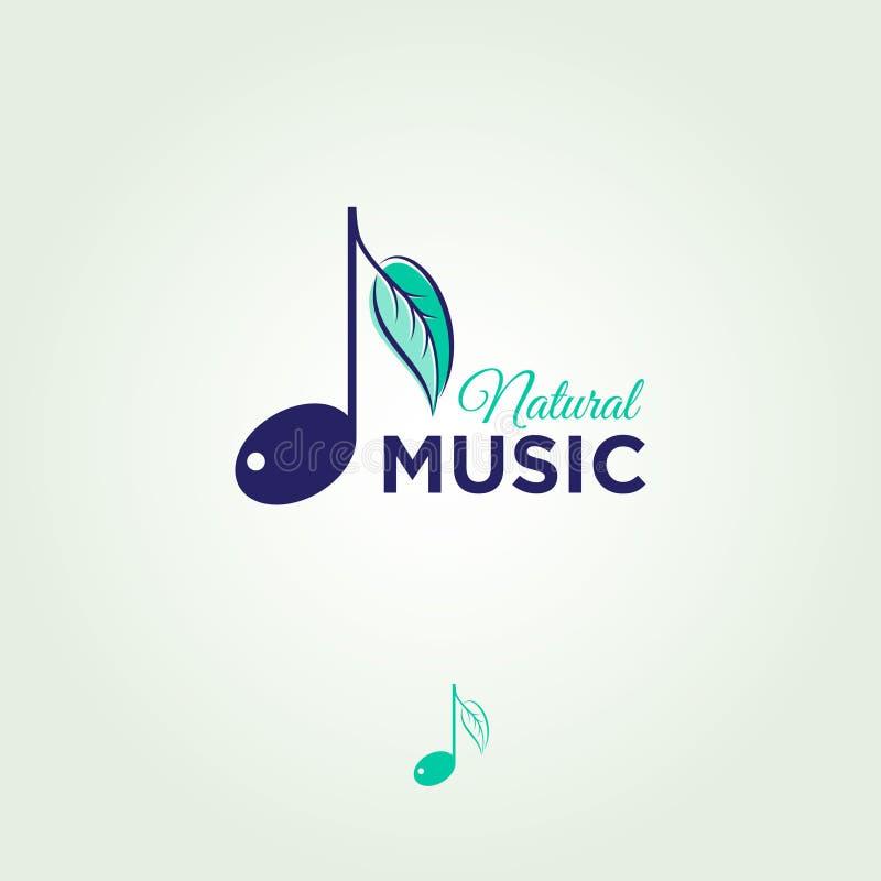 Muzieknoot met een pamflet Muzikaal Embleem Embleem voor een muziekbar royalty-vrije illustratie