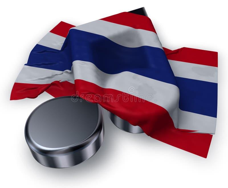 Muzieknota en vlag van Thailand stock illustratie