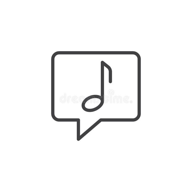 Muzieknota in het pictogram van het bellenoverzicht vector illustratie