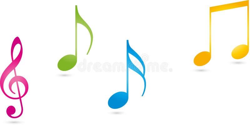 Muzieknota's in kleur, muziek en correct embleem vector illustratie