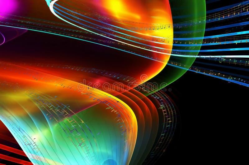 Muzieknota's, kleurrijke illustratie over zwarte achtergrond vector illustratie