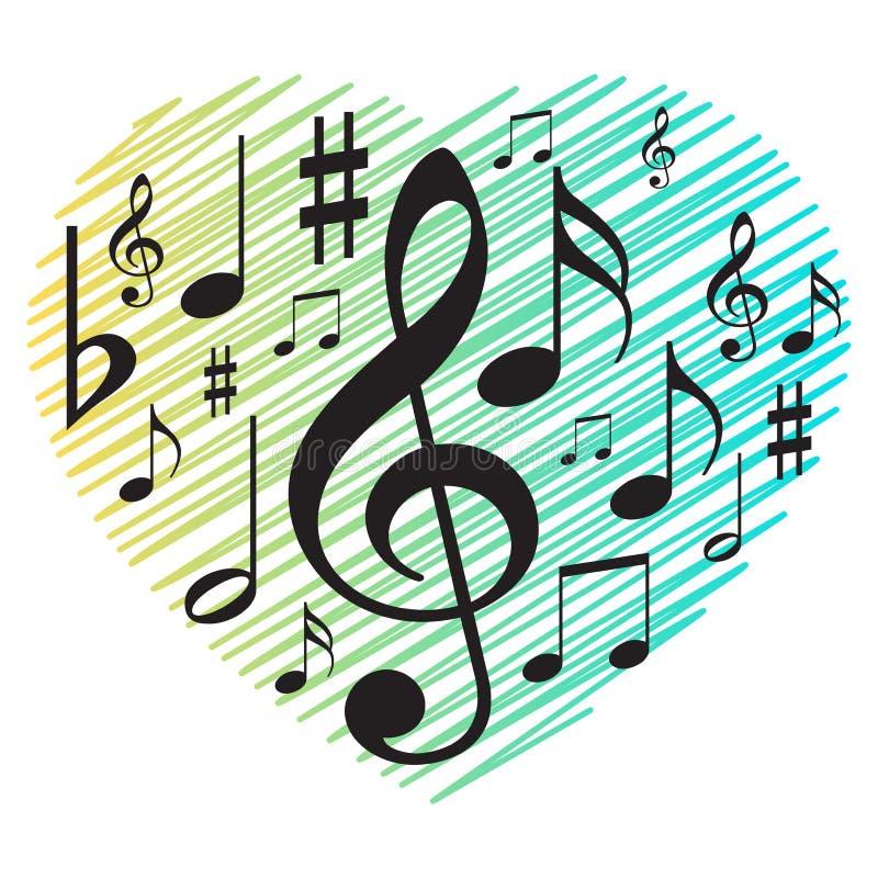 Muzieknota's met de lijnenachtergrond van het liefdehart royalty-vrije illustratie