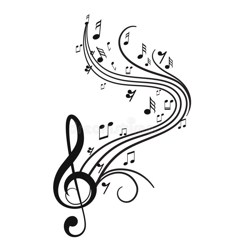 Muzieknota's met golven stock foto