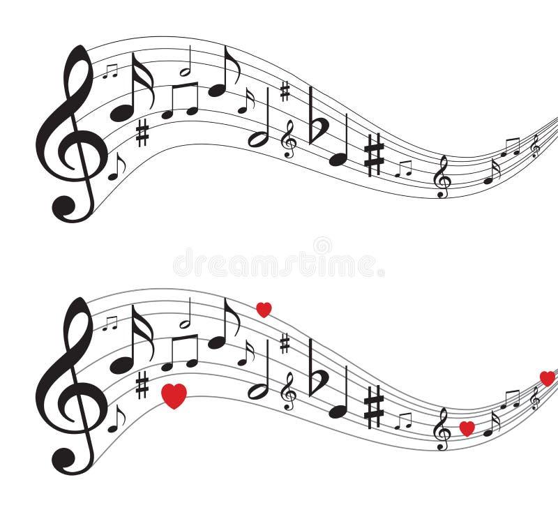 Muzieknota's, muzieknoten met harten stock illustratie