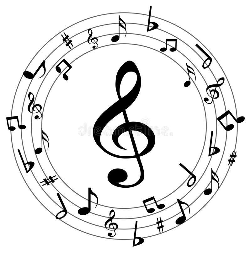 Muzieknota's om embleem stock illustratie