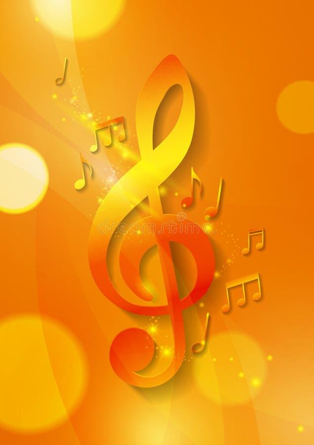 Muzieknota's over Abstracte Oranje Achtergrond royalty-vrije illustratie