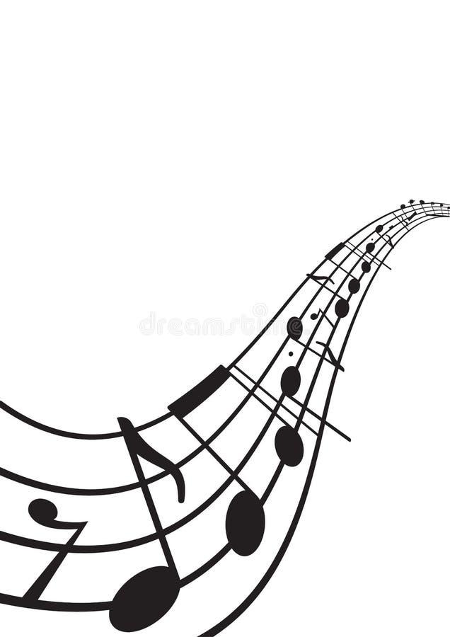 Muzieknota's over golvend personeel stock illustratie