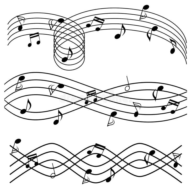 Muzieknota's over staaf stock illustratie