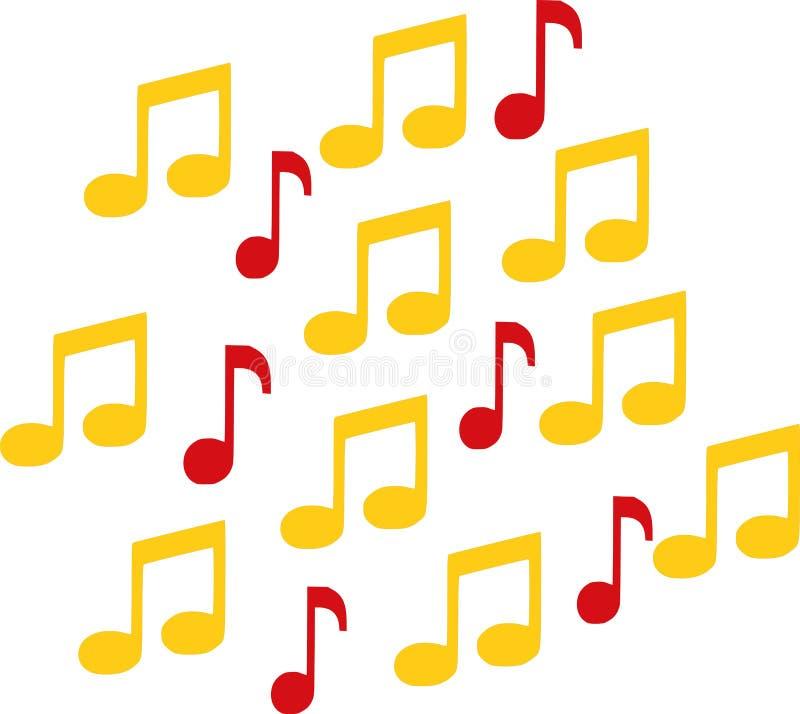 Muzieknota's in twee kleuren stock illustratie