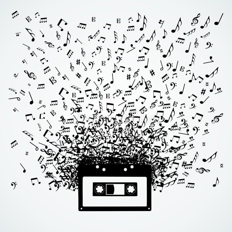 Muzieknota's uit een cassette geïsoleerd ontwerp stock illustratie