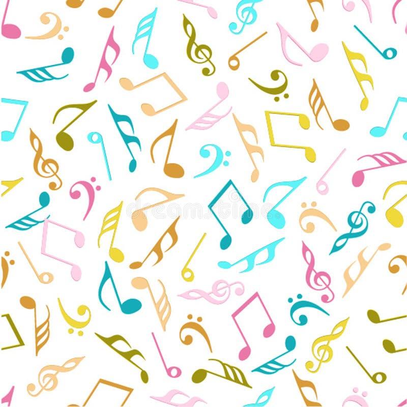 Muzieknoten met naadloos patroon stock illustratie