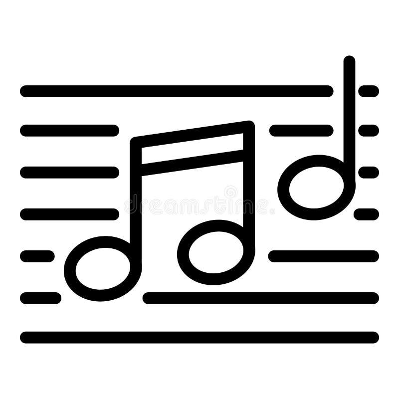 Muzieknotenpictogram, overzichtsstijl stock illustratie