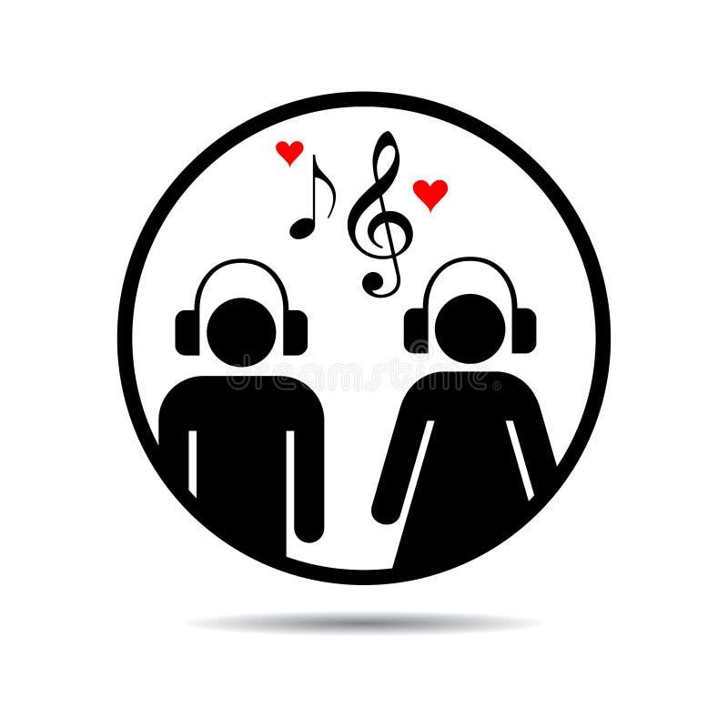 Muziekpaar met muzieknota's royalty-vrije illustratie