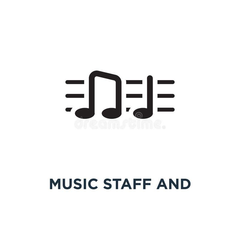 Muziekpersoneel en nota'spictogram Eenvoudige elementenillustratie Muziek s stock illustratie