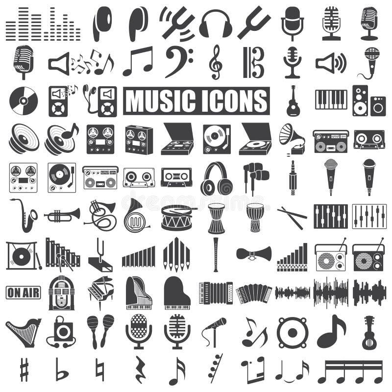 Muziekpictogrammen royalty-vrije illustratie