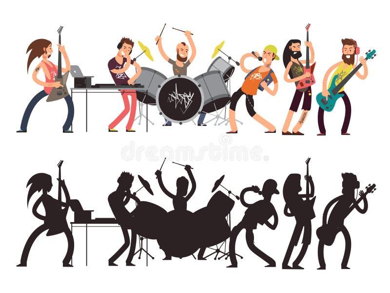 Muziekprestaties met jonge musici Het vector vlakke concept van het rotsoverleg Reeks van beeldverhaalkarakters en musicus vector illustratie