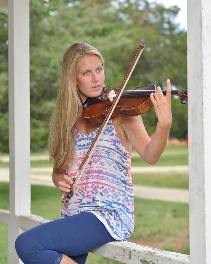 Muziekreeks - openluchtviool of fiddle speler stock afbeelding