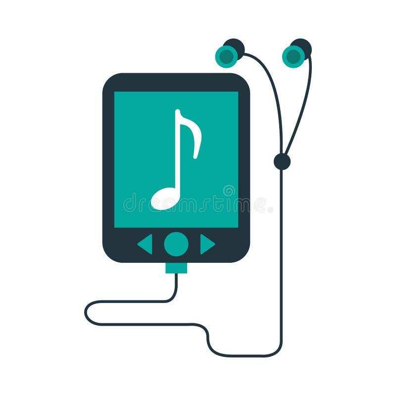 Muziekspeler en oortelefoons vector illustratie