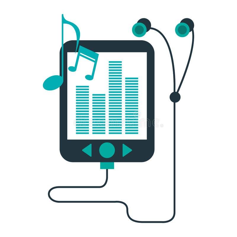 Muziekspeler en oortelefoons royalty-vrije illustratie