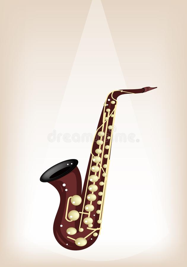 Muzikaal Alto Saxophone op Bruine Stadiumachtergrond vector illustratie