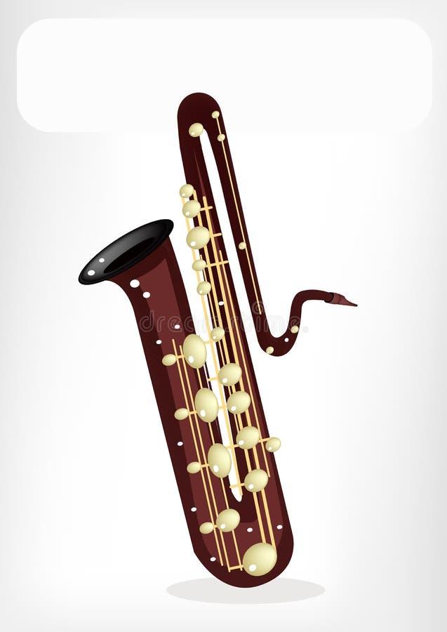 Muzikaal Bass Saxophone met een Witte Banner stock illustratie